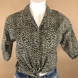 Vintage Handmade Leopard Print Button. Up Medium